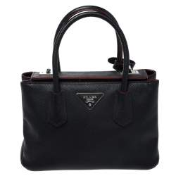 Prada Black Saffiano Cuir Leather Twin Bag