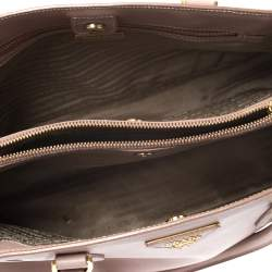 Prada Nude Saffiano Lux Leather Small Galleria Tote