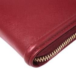 Prada Red Saffiano Leather Zip Around Wallet
