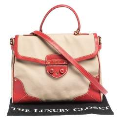 Prada Beige/Red canvas and Leather Cinghiale Top Handle Bag