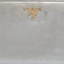 Prada Silver Saffiano Lux Leather Zip Around Wallet Organizer