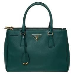 Prada Green Saffiano Lux Leather Small Double Zip Tote