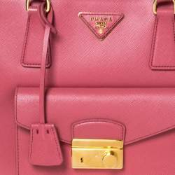 Prada Pink Saffiano Lux Leather Medium Front Pocket Double Zip Lux Tote