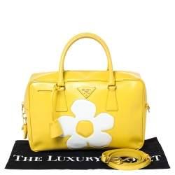 Prada Yellow/White Saffiano Patent Leather Flower Bauletto Bag
