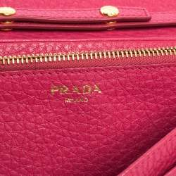 Prada Pink Grained Leather Wallet on Chain