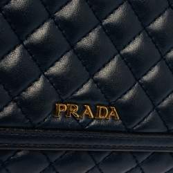 Prada Navy Blue Quilted Leather Flap Wallet on Chain