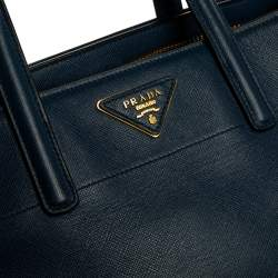 Prada Navy Blue Saffiano Lux Leather Middle Zip Tote