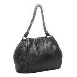 Prada Black Leather Chain Shoulder Bag