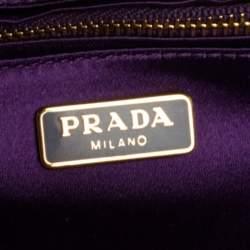 Prada Purple Satin Raso Pleated Clutch