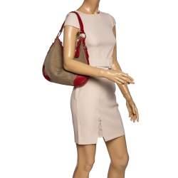 Prada Red/Beige Logo Jacquard Fabric and Leather Hobo