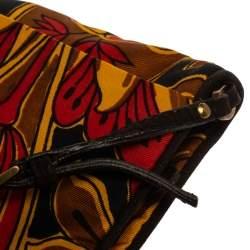 Prada Multicolor Tulip Print Silk and Leather Pochette Bag