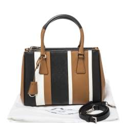 Prada Tri Color Striped Saffiano Leather Small Double Zip Tote