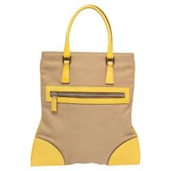 Prada Beige/Yellow Canvas and Leather Tote