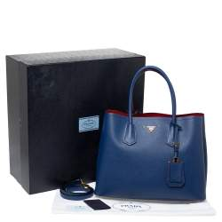 Prada Navy Blue Saffiano Cuir Leather Double Handle Tote
