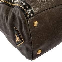 Prada Grey/Black Crinkle Leather Studded Front Pocket Tote