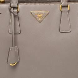 Prada Taupe Saffiano Lux Leather Medium Galleria Double Zip Tote