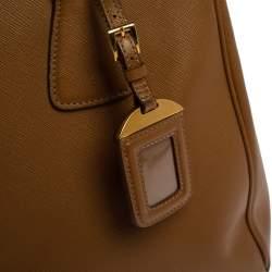 Prada Brown Saffiano Lux Leather Parabole Tote