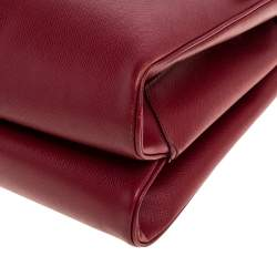 Prada Red Saffiano Lux Leather Spazzolato Gusset Top Handle Bag