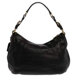 Prada Black Vitello Daino Leather Hobo