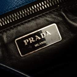 Prada Blue Saffiano Lux Leather Pushlock Flap Clutch