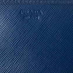 Prada Blue Saffiano Leather Continental Wallet