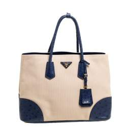Prada Blue/Beige Ostrich and Canvas Large Double Handle Tote