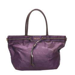 Prada Purple Canapa Nylon Tote Bag