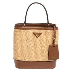 Prada Brown/Beige Raffia and Leather Medium Panier Top Handle Bag
