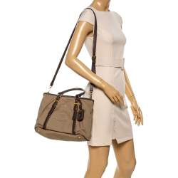 Prada Beige/Brown Canapa Canvas and Leather Tote