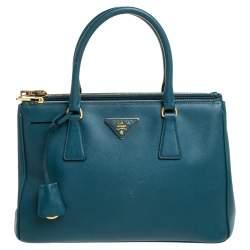 Prada Green Saffiano Lux Leather Small Galleria Double Zip Tote