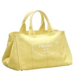 Prada Yellow Canapa Canvas Bag