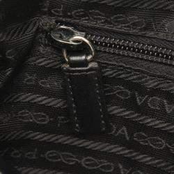 Prada Black Leather Vitello Daino Bowler Bag
