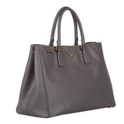 Prada Brown Saffiano Leather Galleria Double Zip Bag