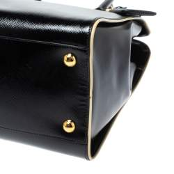 Prada Black Patent Leather Open Satchel