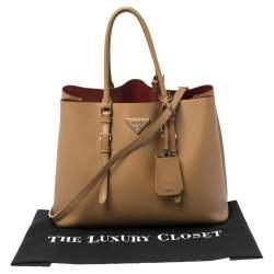 Prada Tan Saffiano Cuir Leather Medium Double Handle Tote