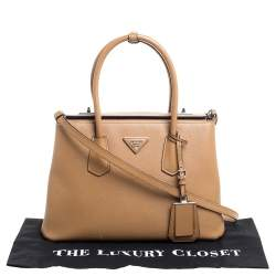 Prada Caramel Brown Saffiano Lux Leather Twin Tote