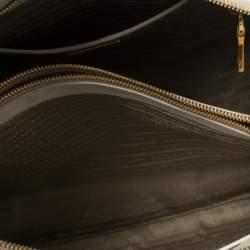 Prada Off White Saffiano Lux Leather Zip Satchel