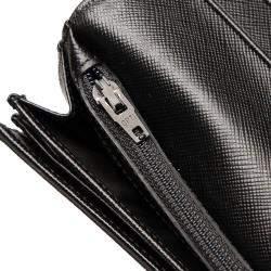 Prada Black Saffiano leather Vintage Saffiano Continental Wallet