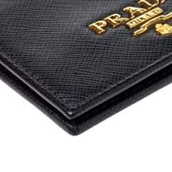 Prada Black Saffiano Leather Card Holder with Strap