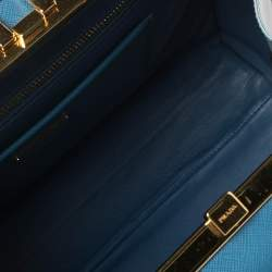 Prada Light Blue Saffiano Lux Leather Pyramid Frame Satchel