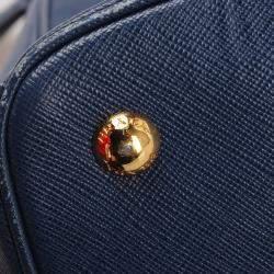 Prada Blue Saffiano Leather Galleria Satchel