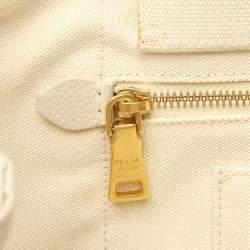 Prada Cream Canvas Canapa Satchel Bag