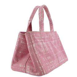 Prada Pink Printed Canvas Canapa Satchel Bag