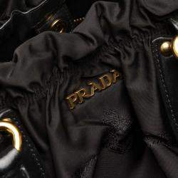 Prada Black Nylon/Leather Canapa Tessuto Satchel Bag