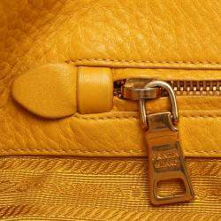 Prada Yellow Leather Vitello Daino Satchel Bag