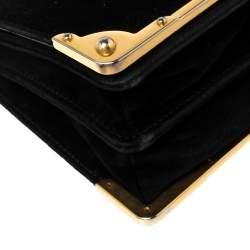Prada Black Velvet and Leather Cahier Shoulder Bag