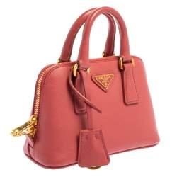 Prada Coral Pink Saffiano Lux Leather Mini Promenade Crossbody Bag
