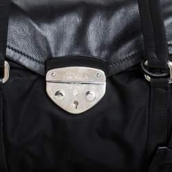 Prada Black Nylon and Leather Satchel
