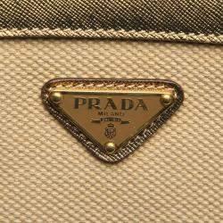 Prada Beige Leather trimmed Canvas Tessuto Satchel Bag