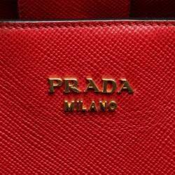Prada Red Leather Cuir Twin Satchel